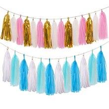 Гирлянда из папиросной бумаги с кисточками синего и розового цвета, сувениры для вечеринки в честь рождения ребенка или мальчика или девочк...
