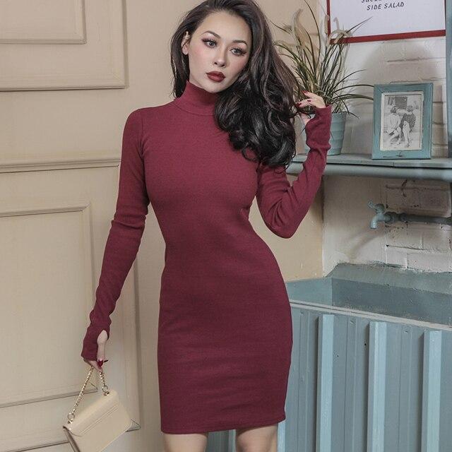 a1bc0172a 2018 primavera esencial espesar caliente Telas vestido algodón roscado  estiramiento simple diseñado Slim alta subida con