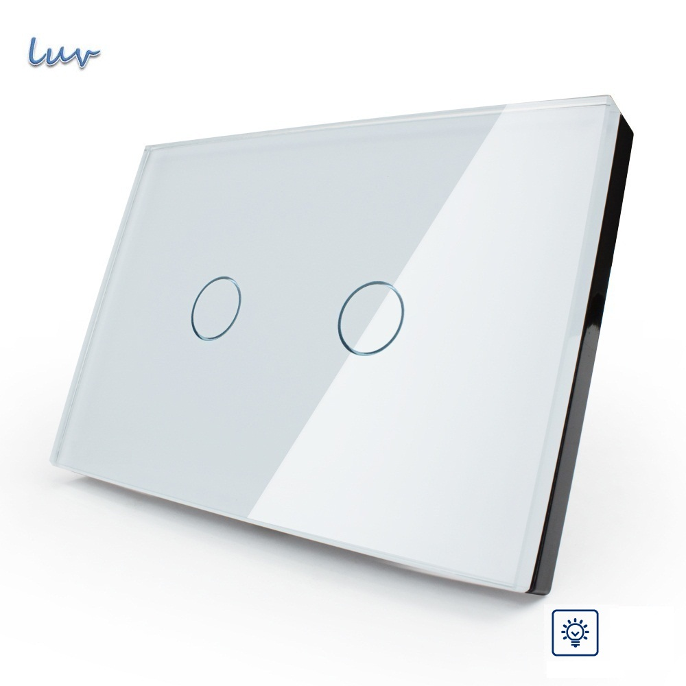 Smart Ivory White Crystal Glass Panel, US/AU standard Wall Switch, VL-C302D-81,Dimmer Touch Home Wall Light Switch wall light touch sensor switch 3gang1way golden glass panel led us au standard touch switches ac220v 110v smart home