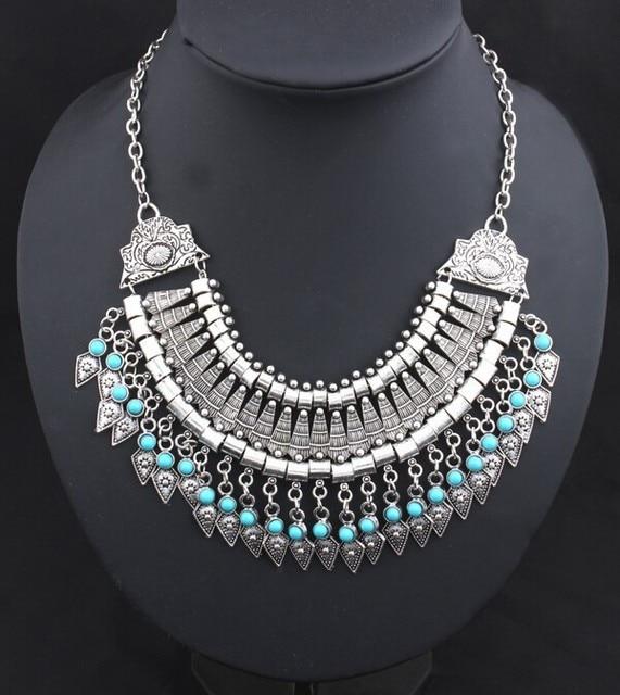 Collar gargantilla vintage Bohemian statement Coin plata étnica gitana piedra azul collar mujeres Maxi joyería fina del grano