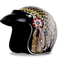 цена на personality Vintage motorcycle helmet Open face retro 3/4 half helmet  Motocross para Moto Casque Casco Motocicleta Capacete