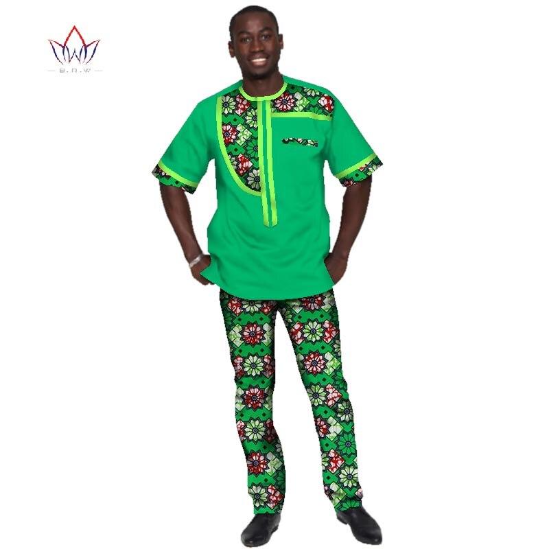 2017 D'été Africain Mens Vêtements Plus La Taille 6XL Africain Vêtements Sport homme Hommes Vêtements pour Hommes 2 Pièces Plus La Taille BRW WYN342