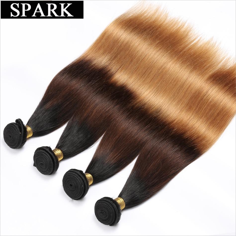 Spark Honey Blond 1/3 / 4pcs Ombre brazil egyenes hajszálak emberi hajhosszabbítások 3 Tone 1B / 4/27 Remy hajszövés