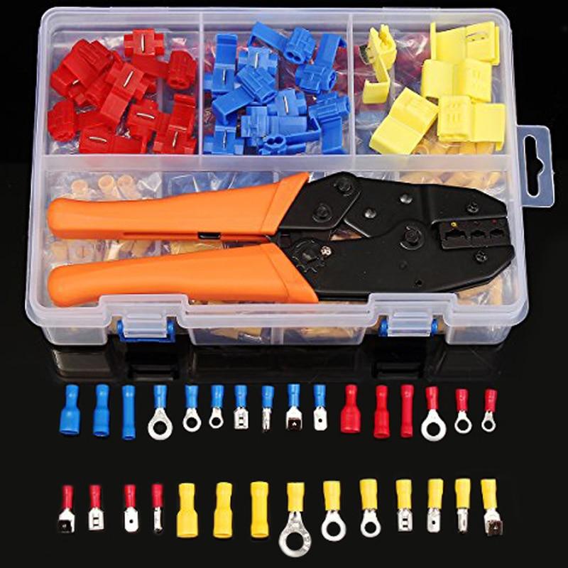 520 PCS Assorties Butt Connecteurs Rapide Splice Homme/Femme Spade Bornes De Fil kit & 1 PC Électrique Pince À Sertir ensemble avec le cas