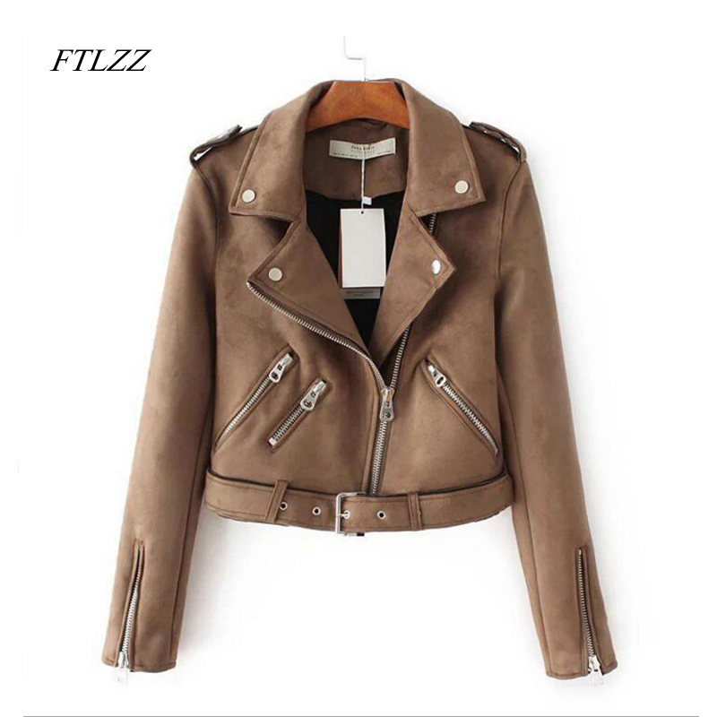 Ftlzz Autumn Faux Suede Jacket Women Turn down Collar Slim Motorcycle Jacket Vintage Short Design Pu