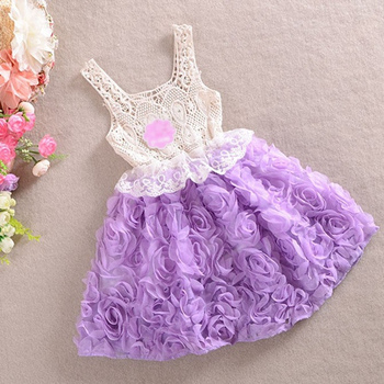 girls flower dresses,children chiffon princess dress,rose,pink/red/purple,1-6 yrs,5 pcs / lot,wholesale,0746