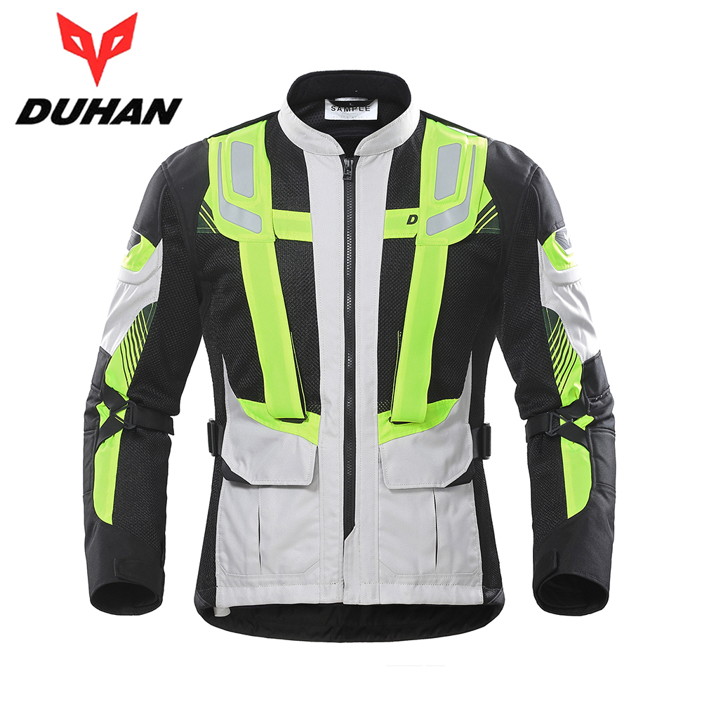 DUHAN Motorcycle Jacket Men Summer Motorbike Jacket Moto Protective Gear Breathable Mesh Reflective Riding Jacket Clothing rsj285 jacket summer motorcycle jacket men riding windbreaker with 5 sets of protective equipment