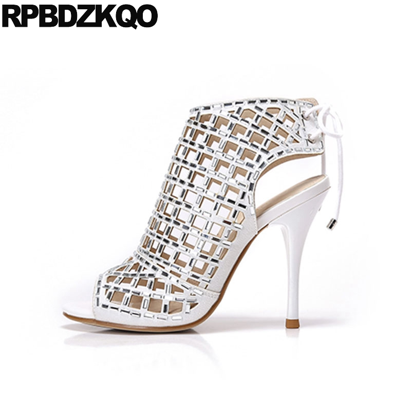 Stiletto High Heels Peep Toe Wedding Lace Up Pumps Cage Sandals White Big Size Luxury Shoes Women Designer Booties Crystal Gold hot designer wedding sandals jeweled pumps crystal covered stiletto high heels floral rhinestone bride dress shoes women