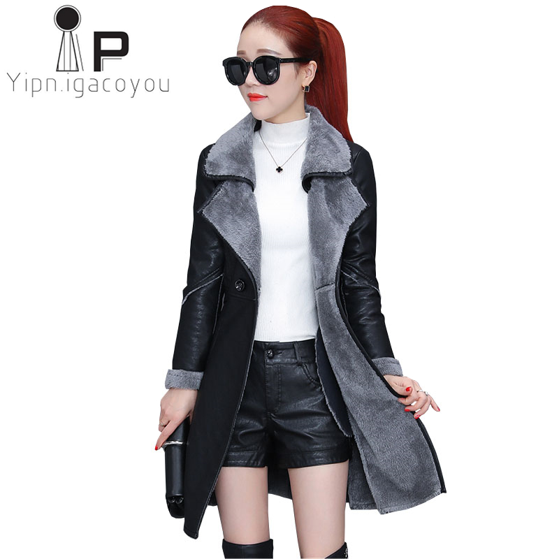 Autumn Winter Pu   Leather   Jacket Women Black Lambswool Coat Plus size Wear Faux   Leather   Jacket Long Jacket Female Casual Overcoat
