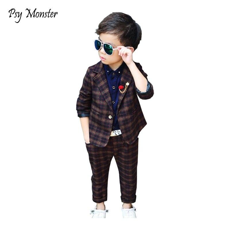 Boys Plaid Formal Wedding Suit England Style Boys Blazers Kids Party Evening Tuxedos Boys Blazer +Pants 2Pcs Clothing Sets A10