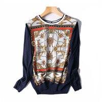 Женская Весенняя Осенняя мода футболка с рисунком шелк с футболки Oneck полный рукав темно синие M/L Розничная оптовая продажа