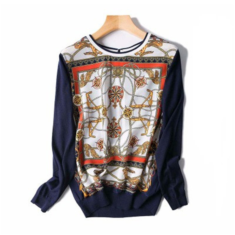 Femmes printemps automne mode imprimé t-shirt soie épissé t-shirts Oneck manches complètes bleu foncé M/L détail vente entière