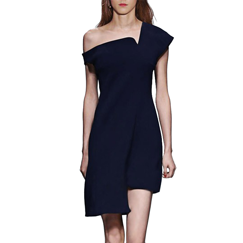 LYFZOUS Runway Design Asymmertrical Sexy Summer Dress 2018 New Solid Color Strapless Sleeveless Dresses Women Party Dress 2XL