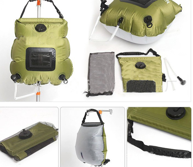 2019 Water Bags For Outdoor Camping Hiking Solar Shower Bag 20L Heating Camping Shower Bag Hose Switchable Shower Head Hot Sale