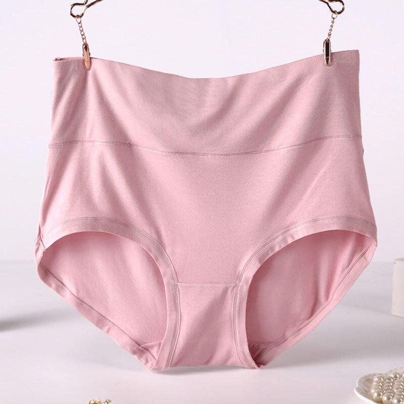 Q001 4 pçs/lote venda quente feminina tamanho grande 6xl calcinha sólida de cintura alta roupa interior feminina calcinha macia viscose lingerie briefs