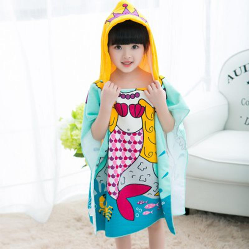Polyester Mermaid Shark Pattern Beach Towel Baby Children Hooded Bath Towel Baby Boys Girls Cartoon Bath Soft Towel for Baby cute doughnut pattern beach towel for women