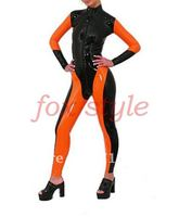100% латекса резиновая Зентаи Женская одежда Комбинезоны и комбинезон с молнией спереди