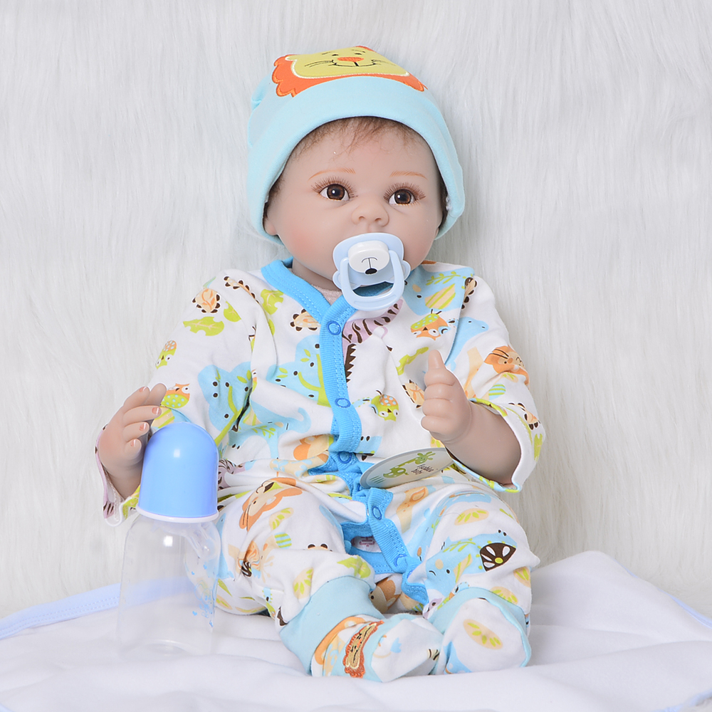 2018 Silicone Vinyl Reborn Babies Dolls 22'' 55 cm Realistic Newborn Baby Doll with Cotton Body Open Mouth Boy Gift Playmates детский электромобиль peg perego or0066 corral t rex оранжевый