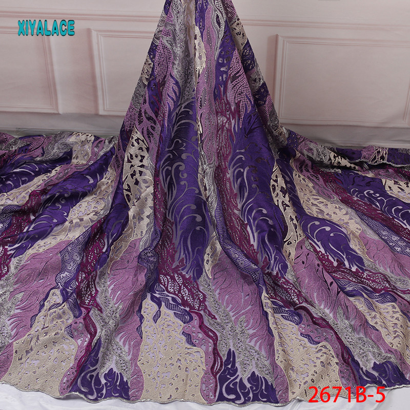 2019 Embroidery French Net Lace Fabric High Quality Nigerian Pards Lace With Colorful Stones Lace for