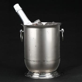 5L Double Handles Stainless Steel Ice Bucket Decorative Metal Chiller Wine Cooler Barware Pub Drinkware Accessories Furnishing