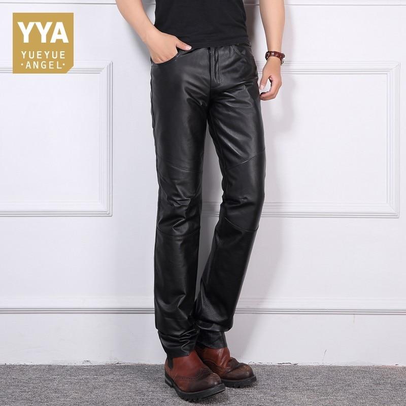 Winter Thick Warm Cargo Down Pants Men Full Length Genuine Leather Motorcycle Trousers Men Biker Punk Pantalon Hombre Plus Size