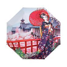 Creative Illustration Japanese Sakura Girl Rain / Sun Umbrella 3 Folding Thickening Sunshade Anti UV Women Art Umbrellas