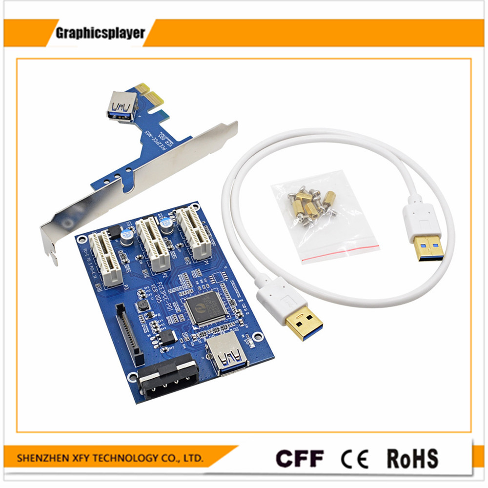 Wholesale 60cm USB 3.0 PCIE 1X Riser Card PCI-E Express 1x to3 Extender Riser Card Adapter SATA 15Pin 4PIN Power Supply sennheiser hd 559