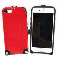 Creative Fashional Travel Suitcase Soft TPU PC Plastic Phone Case Luggage Carrier Protective Cover For IPhone