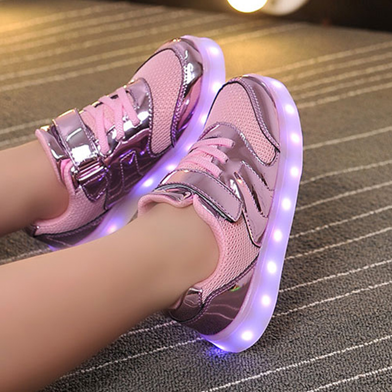 Fashion Bright Solid USB Led Light Up Kid Shoes Breathable Hook &Loop Children Charging Luminous Sneakers For Girl And Boy 26-37 кошелек женский leo ventoni цвет черный l330792