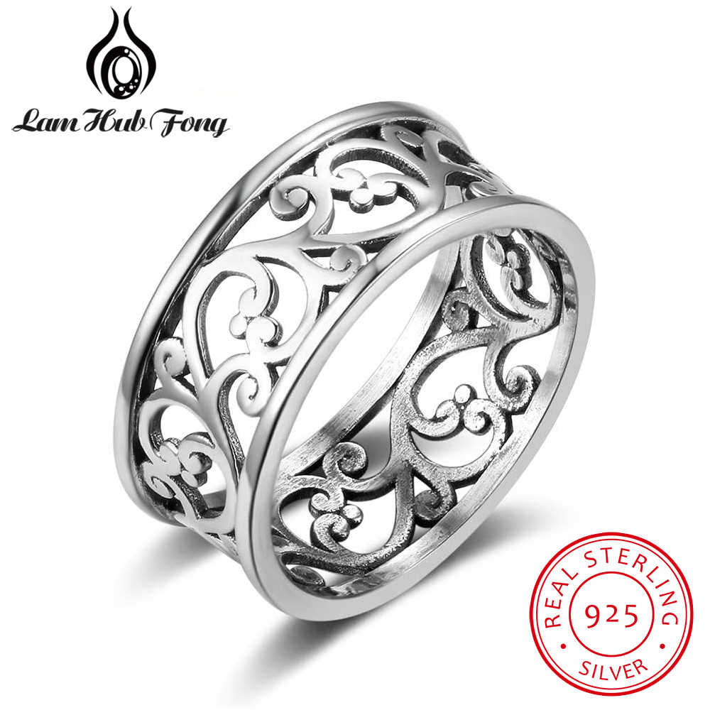 Vintage Style 925 Sterling Silver Ring Wide Vine Pattern Female Ring Women Silver Jewelry Gift for Girlfriend (Lam Hub Fong)