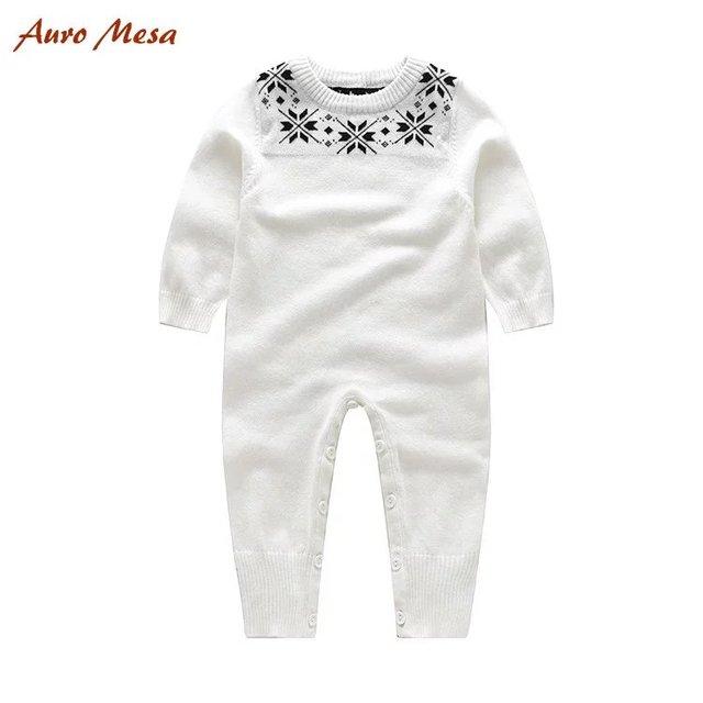 2017 Primavera Do Bebê Macacão de Bebê de Algodão Branco De Malha Macacão De Lã Bebê Menina Menino Geral Do Bebê Meninos Roupas de Festa de Alta Qualidade