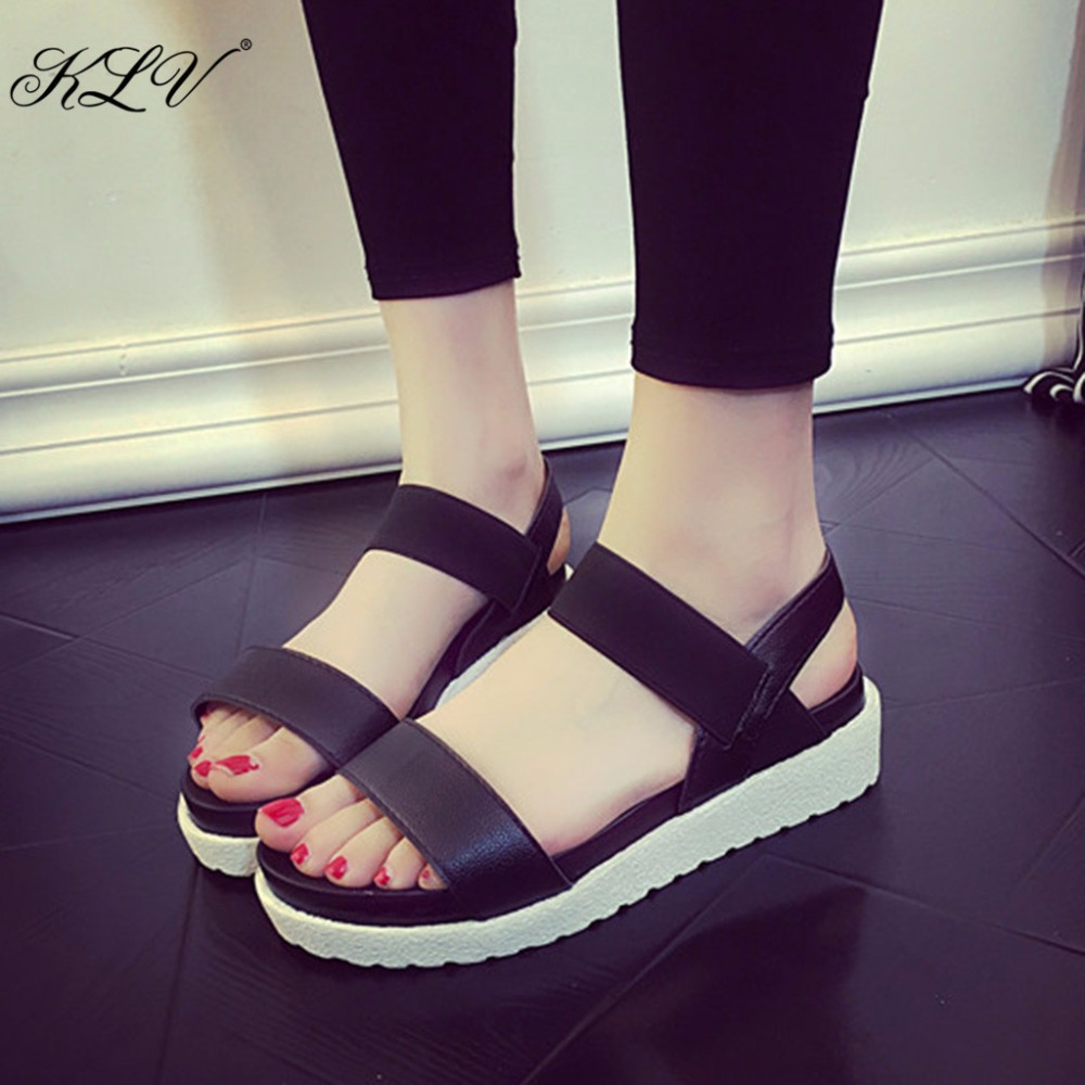 THINKTHENDO Girls Summer Platform Sandals Peep Toe Flat Thick Bottom Shoes Roman Sandal Women 2017  Black/White/Leopard free shipping 2017 new arival hollowed out peep toe canvas shoes fashion flat bottom denim shoe ginger green black white