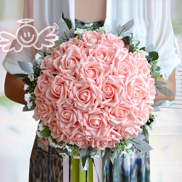 Best Selling Romantic Silk Artificial Wedding Bouquets Rose Flowers Bridal 2017 Cheap
