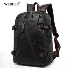 WEIXIER 2019 New Hot Multi-Pocket Multi-Function Mens PU Backpack Fashion Soft Material Solid Color Shopping Travel