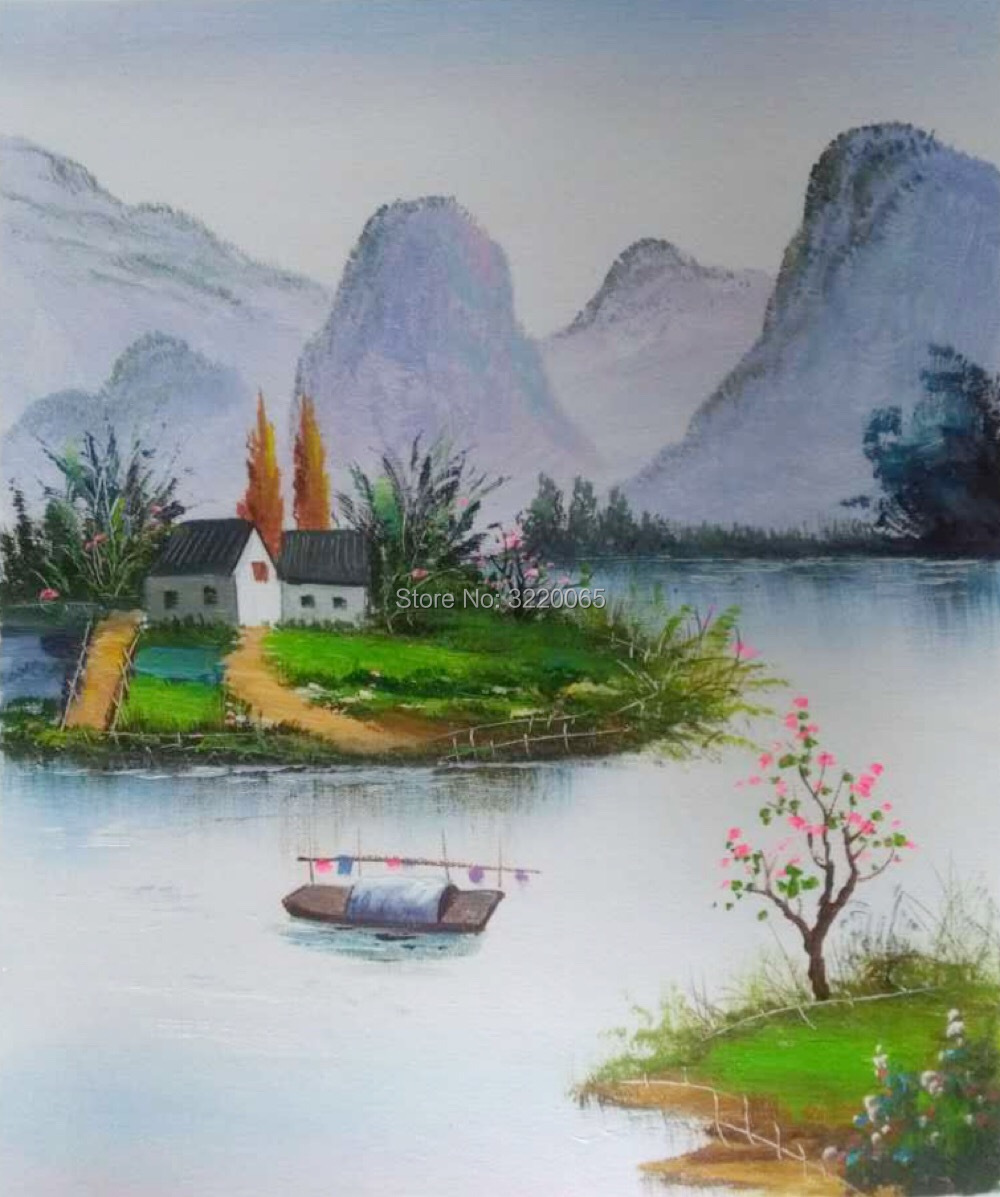 Oil painting New Chinese style painting Spring River Green Pure hand-painted oil paintings for wall decoration