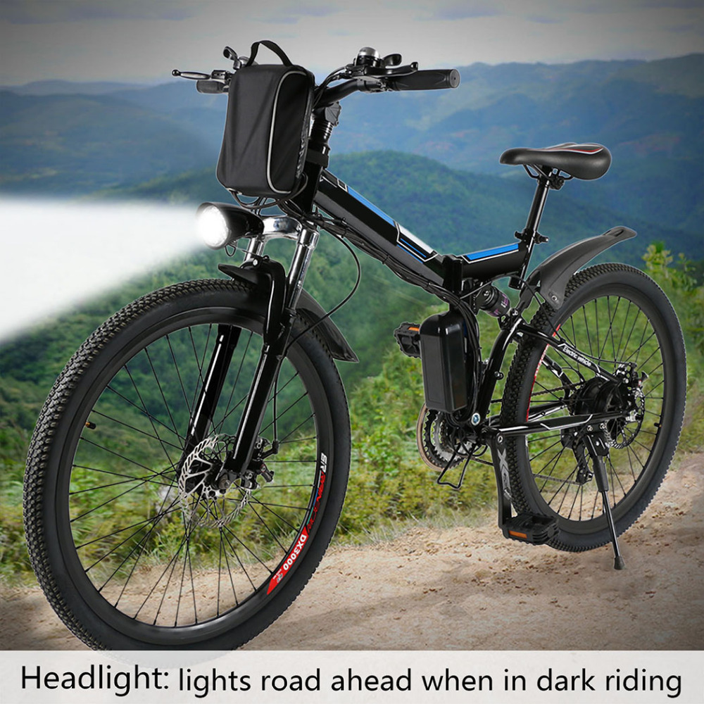 ANCHEER Electric Mountain Bicycle Foldable Bike Power 7 Modes Fly-wheel With Smart Phone Fast USB Charging Interface