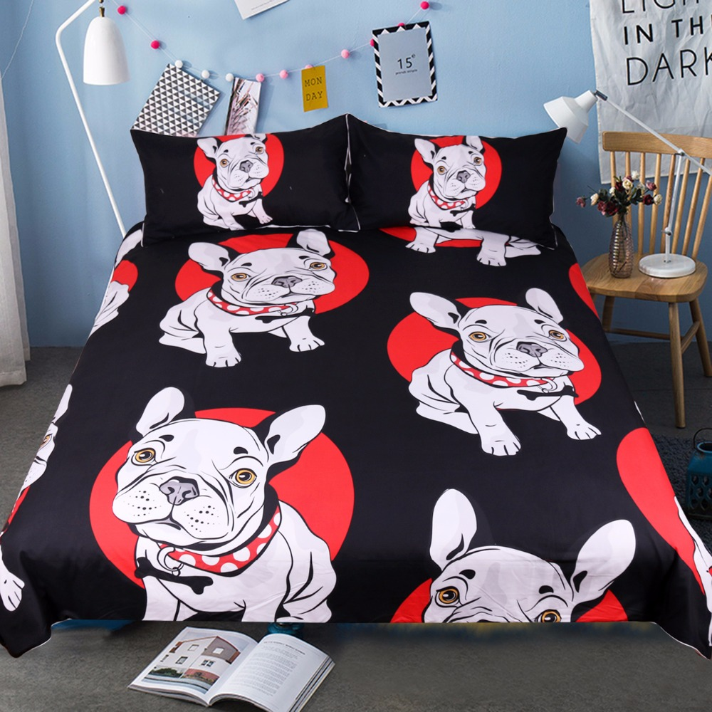 beddingoutlet bulldog bedding set black and red quilt cover with