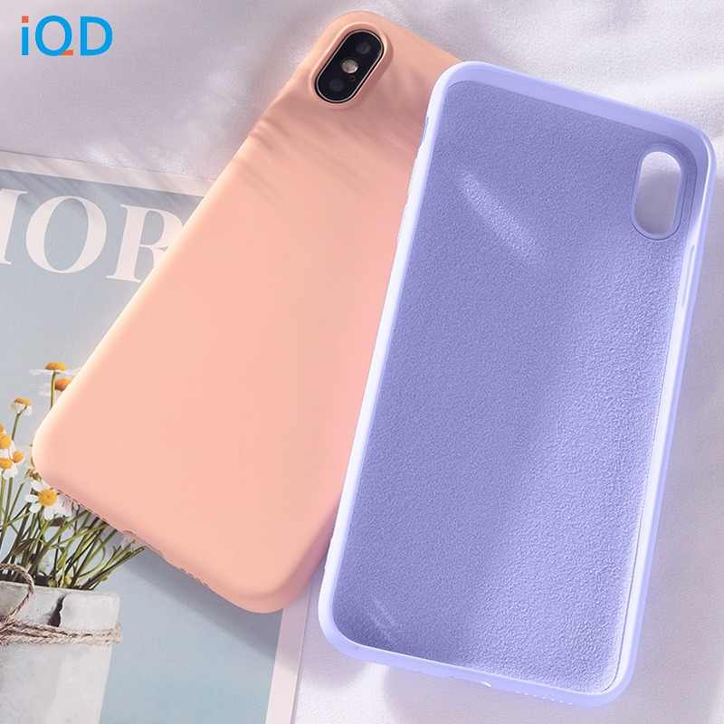 IQD For iphone Xr X Xs Max Case Soft Liquid Silicone Cover Microfiber Cloth Cushion for iphone 7 8 6 Plus Case Anti-Scratch Thin