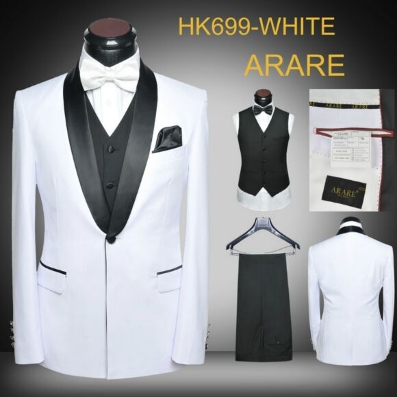 Latest Coat Pant Designs White Black Tuxedo Jacket Wedding Men Suit Slim Fit Prom Groom Blazer Custom 3 Piece Suits  Masculino n