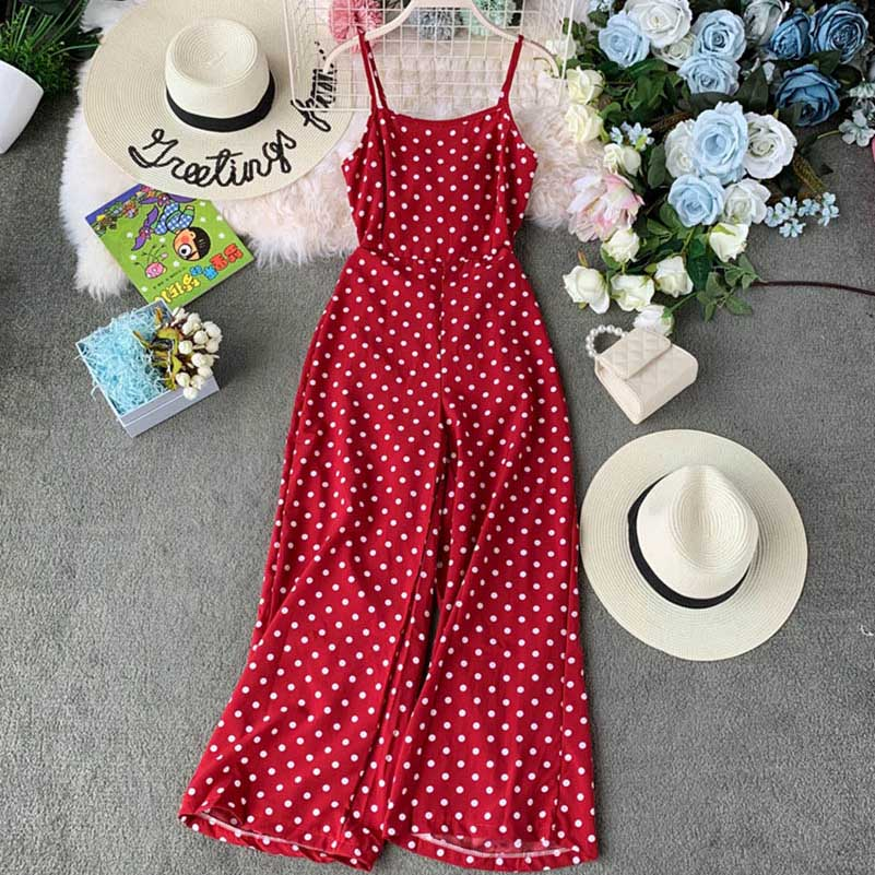 Nicemix Women Summer Dot Cross Backless High Waist Sashes Loose Chiffon Jumpsuits Casual Lady Jumpsuit 2019 Summer Red Dot