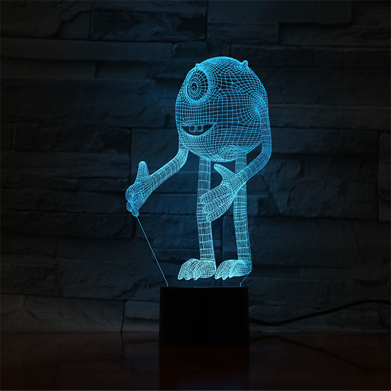 Cartoon Night Light Monsters Inc 3d Children Night Lamp Visual LED Light For Baby Bedroom Bedside With Color Changing