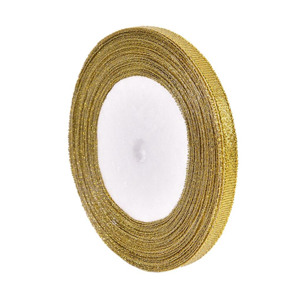 25 метров 6 мм серебро/золото шелковые, атласные ленты вечерние дома Свадебные украшения подарочная упаковка Рождество Новый год DIY Материал