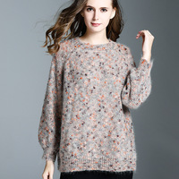 European Station Network Red Autumn And Winter New Round Neck Horse Hair Yarn Sweater Loose Women