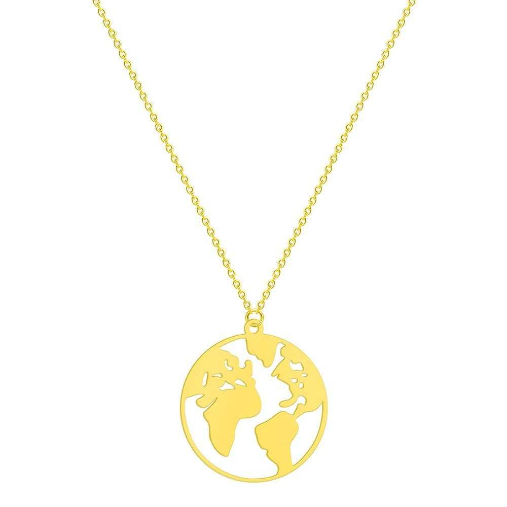 ba1cc58afeb6 Todorova de acero inoxidable mundo mapa colgante collar de las mujeres Día  de la tierra