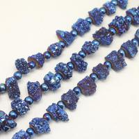 Full strand Solar Druzy Titanium Blue Drusy Achate Charm Jewelry,Natural Achate Geode Middle Drilled Loose Beads Slab Pendants