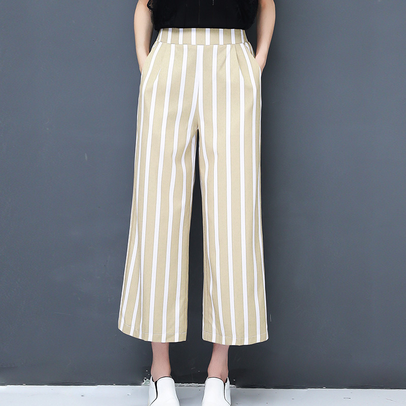 New Summer Lady Fashion Khaki Trousers Plus Size M-5XL Patchwork Design Casual Striped Wide Leg   Pants   /   Capris