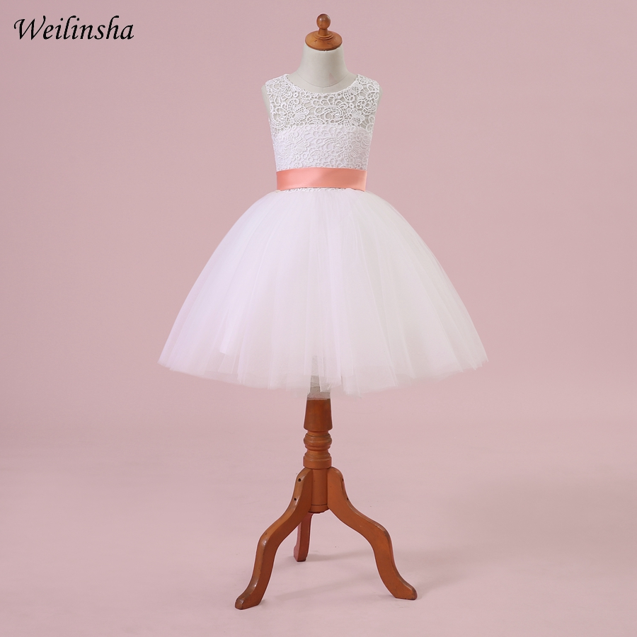 Weilinsha Cheap Lace   Flower     Girl     Dresses   Tulle A-line First Communication   Dress     Girl   Pageant Gowns Vestidos de comunion