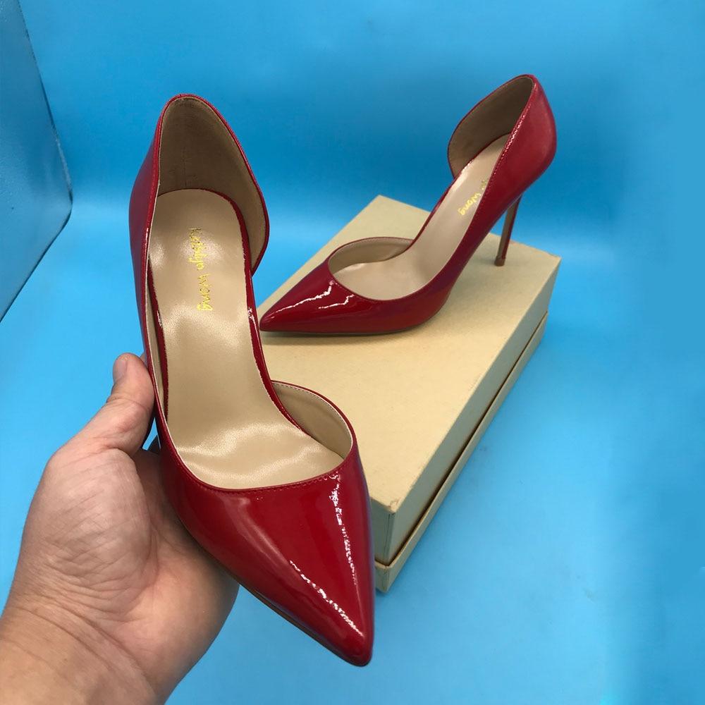 클래식 여성 얇은 뒤꿈치 100mm 지적 발가락 샌들 여성 웨딩 발 뒤꿈치 디자이너 드레스 펌프-에서여성용 펌프부터 신발 의  그룹 1