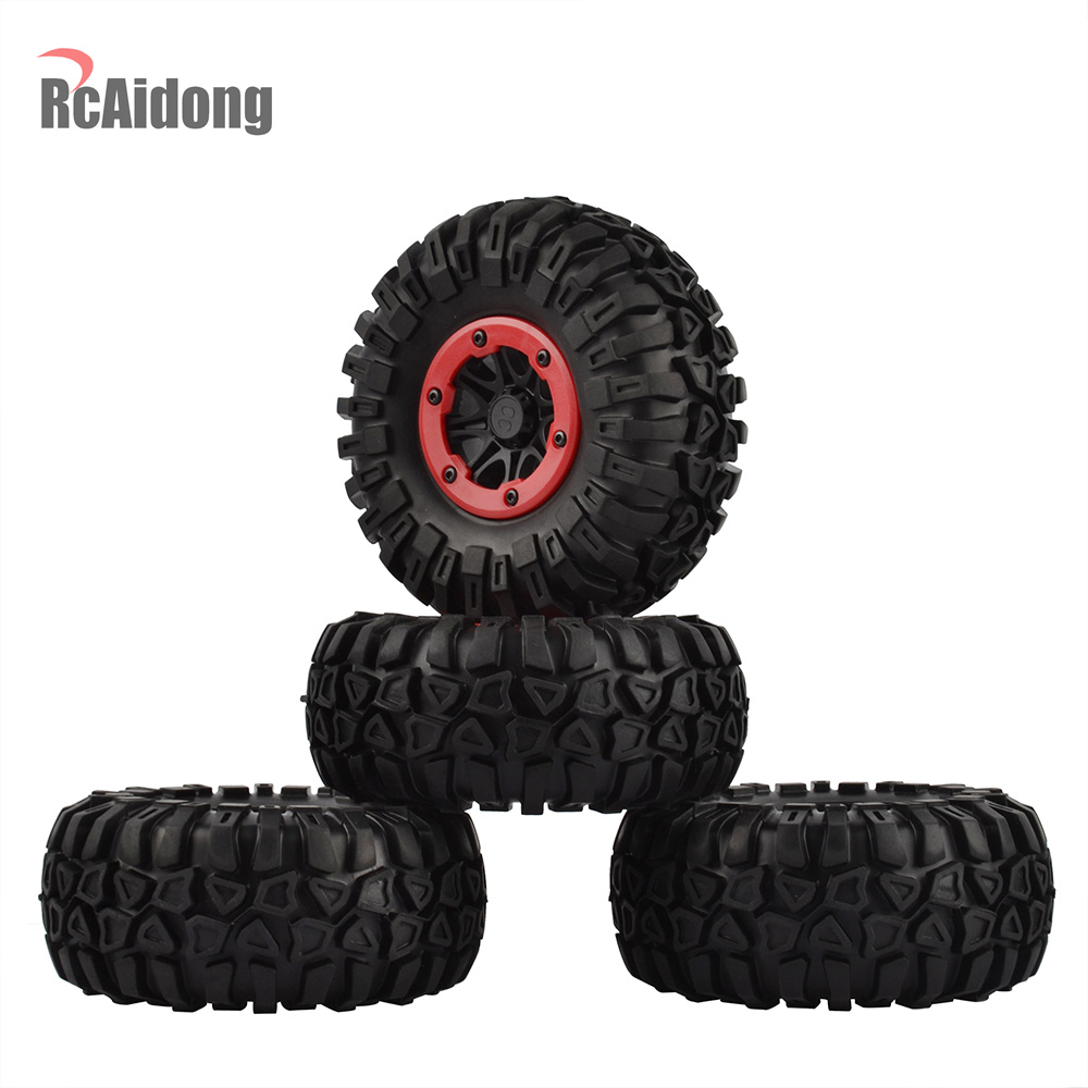 1Set 2.2 Inch RC Crawler Beadlock Wheel Rim &Wheel Tires for 1/10 Rock Crawler Axial SCX10 90053 AX10 Wraith 90056 90045 RC Car 2 2inch wheel rims for wraith rc4wd 8 spoke alloy beadlock 1 10 crawler car 2 2 wraith wheels high quality