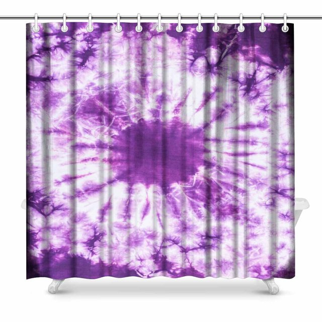 Aplysia Purple Tie Dye Batik Fabric For Art Paintings Effect Print Bathroom Decor Shower Curtain Set With Hooks 72 Inches